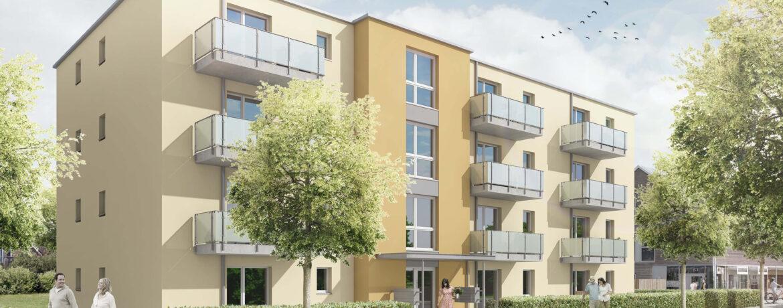 Ansicht des Mehrfamilienhaus in der Paul-Ehrlich-Straße 1+3 in Lübeck - Heizungs & Sanitärplanung für den Neubau