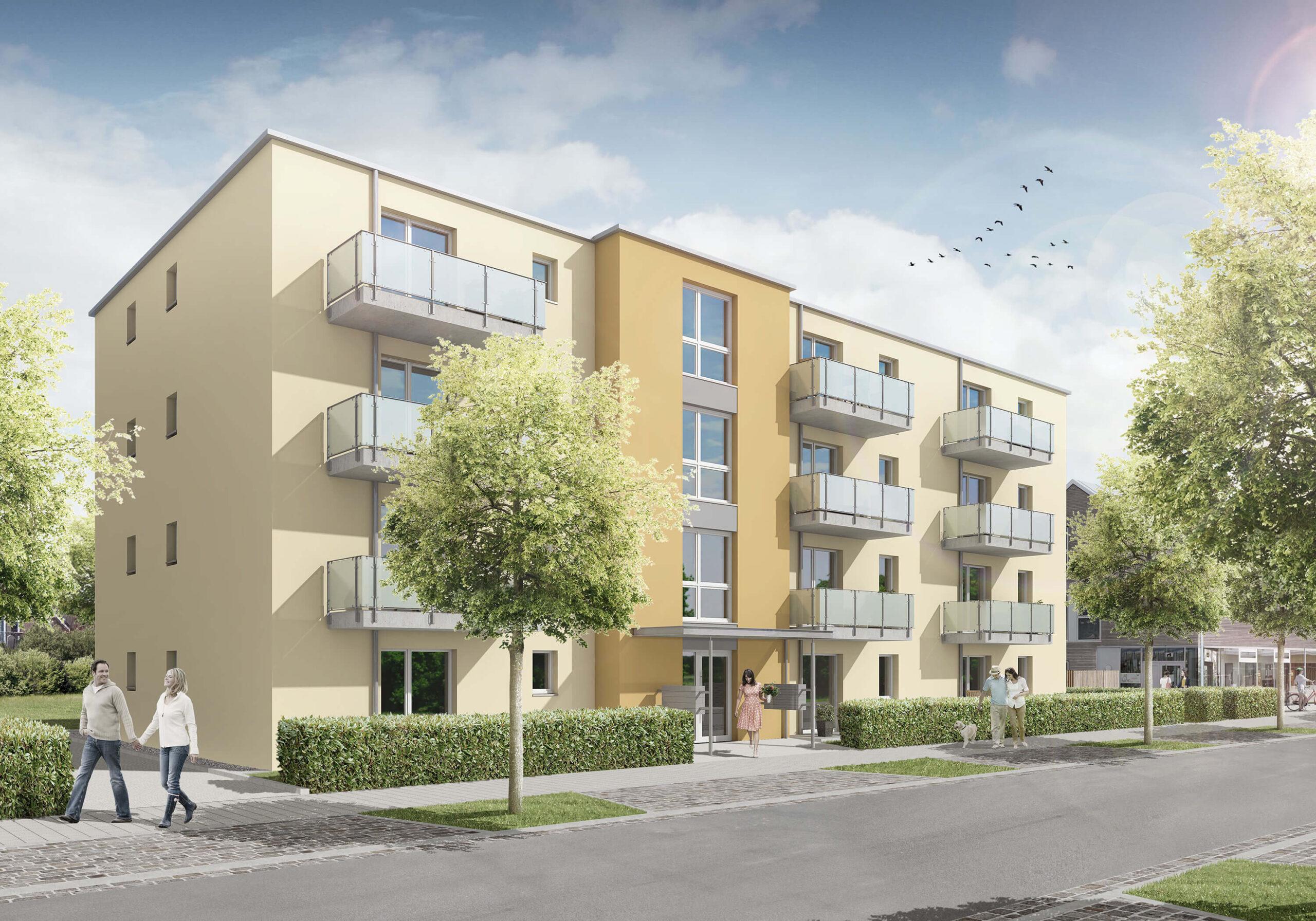 Ansicht des Mehrfamilienhaus in der Paul-Ehrlich-Straße 1+3 in Lübeck - Planung Heizung & Sanitär vom Ingenieurbüro Rüdiger aus Rostock