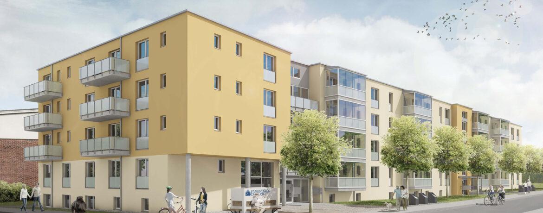 Ansicht des Mehrfamilienhaus in der Maria-Mitchel-Straße 1+3 in Lübeck - Heizungs & Sanitärplanung für den Neubau
