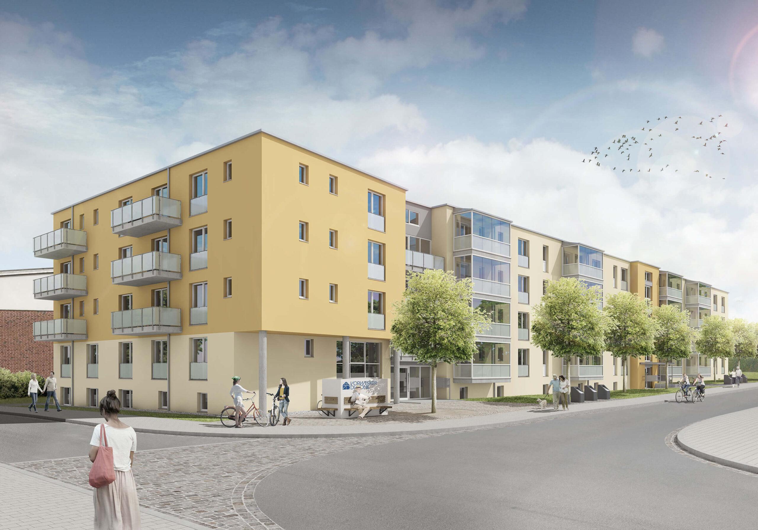 Ansicht des Mehrfamilienhaus in der Maria-Mitchel-Straße 1+3 in Lübeck - Planung Heizung & Sanitär für den Neubau vom Ingenieurbüo Rüdiger aus Rostock
